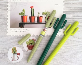 Cactus Gel Pen Set - 3 Pens - 0.35mm Fineliner Tips - Black Ink - Planner Bullet Journals - Kawaii Stationery Korean