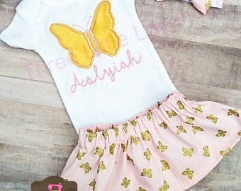 Pink and Gold Baby Outfit - Baby Girl Outfit Set - Pink and Gold Outfit - Baby Girl Butterfly - Pink and Gold Skirts