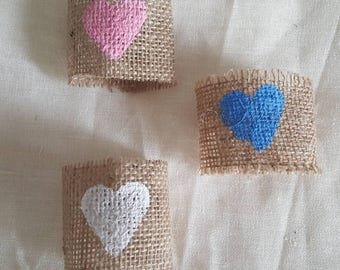 Napkin holder,heart rustic napkin ring, burlap,hessian,rustic wedding table decor, set of 2, country style Wedding,vintage wedding style