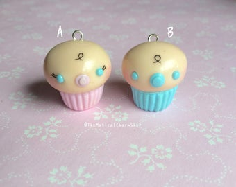 Baby boy/baby girl cute kawaii clay cupcake charm