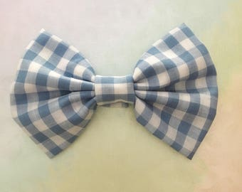 Blue and White Gingham Fabric Sailor Hairbow, checkered, plaid