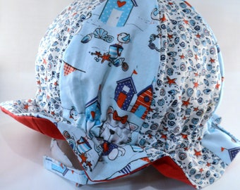 """Cotton """"Grow-with-Me"""" Sunhat - Cats at the Sea Shore and Shells - Adjustable Size - Flat Brim - Velcro Chin Strap - 0-3+ Years - Stay-On Hat"""