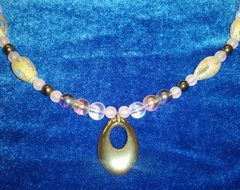 Purple and Hematite Necklace