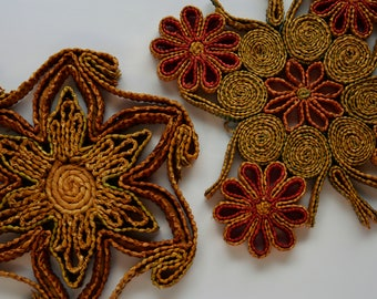 Vintage Woven Raffia Trivets, Vintage Wall Hangings, Boho Wall Hangings
