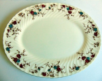 Minton Serving Platter Handpainted Scalloped Gold Floral Gold Trim