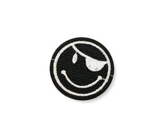 Piraten Smiley, schwarz-weiß, Patch ca. 45mm