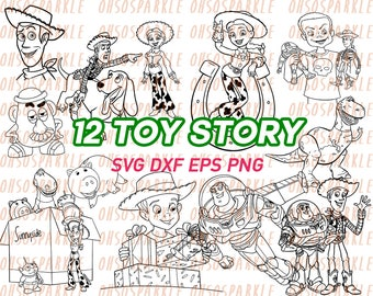 toy story svg, woody, buzz lightyear, clipart, vector, vinyl, graphics, line art, stencils, decal, eps, png, dxf, printable,digital download
