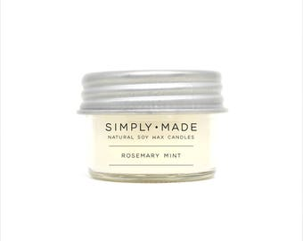 Soy Candles // Rosemary Mint // 4 oz Mason Jar Candles // Scented Candles // Modern Farmhouse Decor