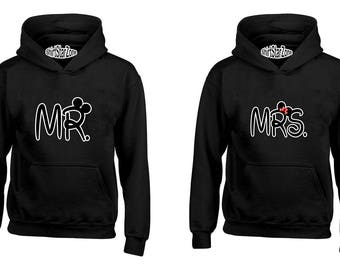 Couple Hoodies Mr and Mrs Cartoon Ears Couples Cute Matching Love Couples Valentine's Day Gift
