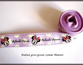 Ribbon Large Grain Minnie purple black white
