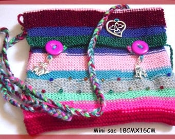 Mini bag with shoulder strap wool pouch