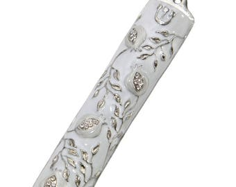 """Mezuzah Case, Bless This House With Pomegranate Tree Design Crafted in Heavy Brass, Door Mezuza Case 4"""" Israel Judaica """"White Wedding"""" Color"""