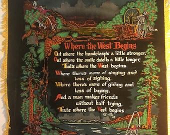"""Vintage Black Velvet, """"Where The West Begins"""" Pillow Cover with Fringe"""