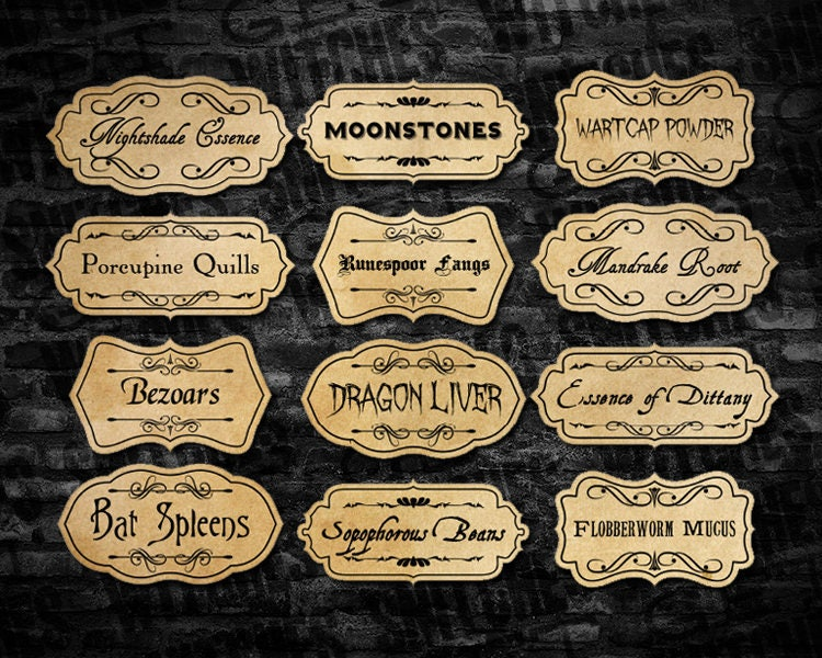 It is a picture of Impeccable Printable Potion Labels