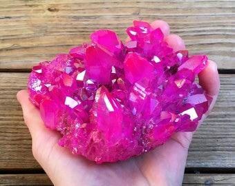 Large Rose Aura Quartz Cluster