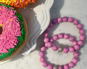 pink beaded gemstone bracelet /  calling all PINK lovers...!