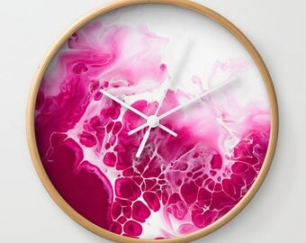 Wall Clock, Original Art Print Clock, Interior - Raspberry. Custom Order, Pre Order