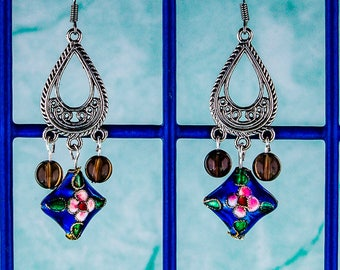 Cloisonne and Smoky Quartz Earrings silver filigree blue cloisonne beads smoky quartz beads