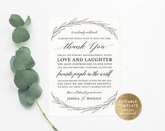 Instant Download | Leaves Wedding Reception Thank You Card | Editable | Rustic Thank You Place Card