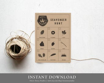 Instant Download | Scavenger Hunt Card | DIY Printable Digital File | Camping Birthday, Happy Camper, Outdoor Birthday Party Game  | DC008