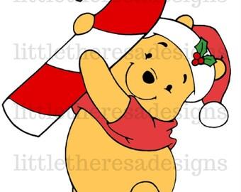 Winnie The Pooh Candy Cane Transfer,Digital Transfer,Digital Iron On,Diy