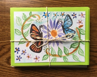 10 Unique Butterfly Cards with Envelopes