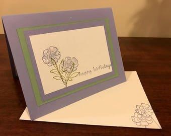 Happy Birthday Purple Flower Card