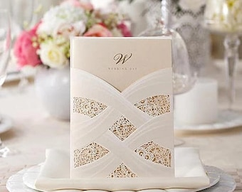 Laser Cut Embossed  Wedding Invitations – Vintage & Romantic