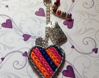 hand made knitted clay heart bag charm/ keyring5.75ins long