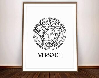 VERSACE Print • Gianni Versace Logo Medusa Head Affiche Versace Poster Circle Print Versace Wall Art Womens Room Versace Decor Beauty Logo