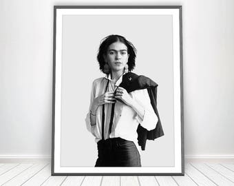 Frida Print * Frida Kakho Print Black And White Photography Frida Kahlo Poster Frida Poster Celebrity Art Woman Art Frida Kahlo Wall Art