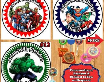 Super Hero Birthday Stickers Favor Labels 1 Sheet Personalized Superman Spiderman Batman Captain America Hulk Wonder Woman