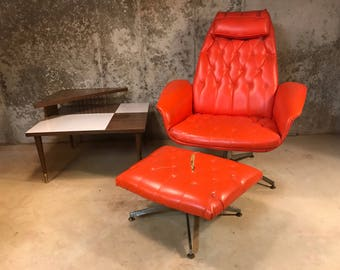 Mid Century George Mulhauser Orange Tufted Chair and Ottoman for Plycraft