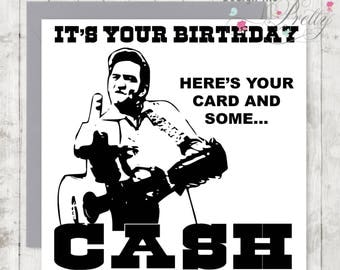 Johnny Cash Birthday Card - Husband Boyfriend Man in Black