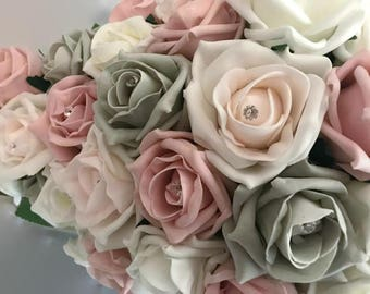 Bridal Teardrop Bouquet Dusty  Pink, Blush Grey and  ivory  Sparkle Center, Bridal wedding  artificial  foam roses