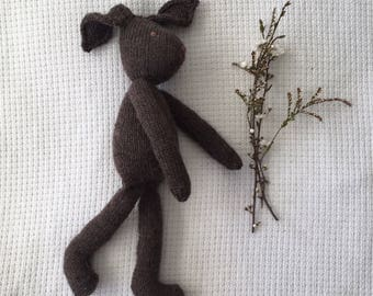 Knitted Toy Rabbit -  Brown Colour