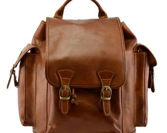 Genuine Vegetable Tanned Leather Backpack