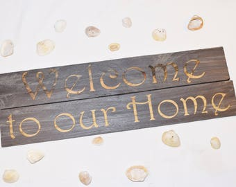 Engraved Welcome to our Home Sign | Gift | 20x10 | Home Decor | Welcome | Pallet Wood | Laser | Engraved |