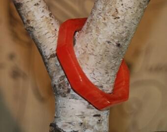 Genuine Orange Bakelite octagonal shape marbleized bangle bracelet