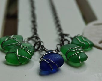 Sea Glass Necklace  - Blue and Green-Natural Sea Glass Necklace, Wire Wrapped, Multi-glass, multiple pendant, multi stone