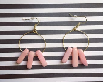 Pink Dyed Quartzite Stone Earrings
