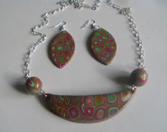 set in polymer clay earrings and necklace hippie style
