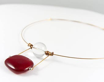 Quartz necklace, Agate jewelry, Agate necklace, Red necklace, Quartz pendant, Gemstone jewelry, Minimalist necklace, Bronze jewelry, For her