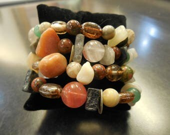 Multi Gemstone and Glass Bead Memory Wire Bracelet