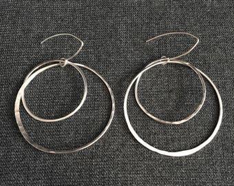 Double Sterling Silver Dangle Hoop Earrings