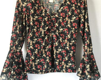 RESERVED Vintage 90s  Floral Bell Sleeve Crop Top, Size Small