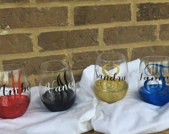 Customized Stemless Glitter Wine Glasses