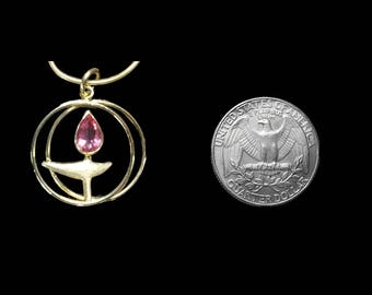 "14K Gold UU Pendant with a ""hot pink"" tourmaline flame"