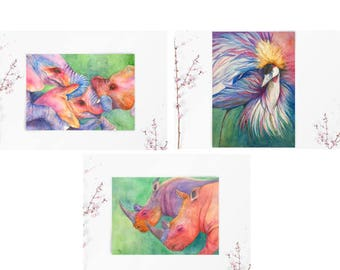 6-Card Greeting Card Set (2 of each image) of Fine Art Watercolors of Elephants, Rhinos and Crowned Crane