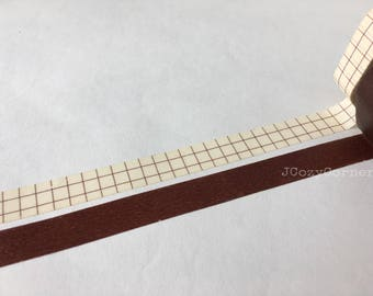 SAMPLE Washi Tape Classiky Brown grid & Plain